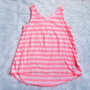 🎀Old Navy Neon Pink Striped Tank Top Size XS 5💕
